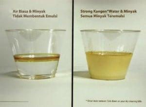 kangen water dapat meleburkan minyak di air