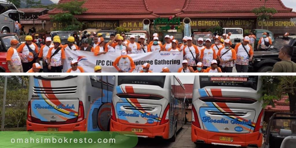 Bus Rombongan Rosalia Indah di Omah Simbok Resto